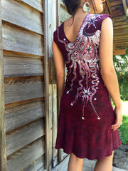 Marooned In Moonlight Red Organic Cotton Batik Dress - Size Small - Batikwalla   - 2