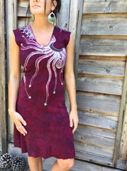 Marooned In Moonlight Red Organic Cotton Batik Dress - Size Small - Batikwalla   - 3
