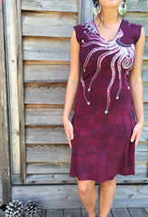 Marooned In Moonlight Red Organic Cotton Batik Dress - Size Small - Batikwalla   - 5