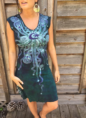 Teal and Purple Moonbeams Organic Cotton Batik Dress - Batikwalla   - 2