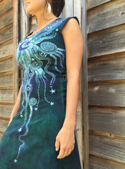 Teal and Purple Moonbeams Organic Cotton Batik Dress - Batikwalla   - 3