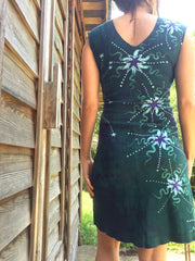 Teal and Purple Moonbeams Organic Cotton Batik Dress - Batikwalla   - 5