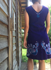 Purple Peacock Lovers Organic Cotton Batik Dress - Size M - Batikwalla   - 5