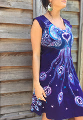 Purple Peacock Lovers Organic Cotton Batik Dress - Size M - Batikwalla   - 8
