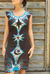 Tribal Turquoise and Earth Clay Organic Cotton Batik Dress - Size Small - Batikwalla   - 4