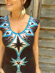 Tribal Turquoise and Earth Clay Organic Cotton Batik Dress - Size Small - Batikwalla   - 1