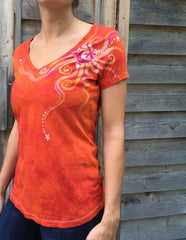 Brilliant Orange Moon Handmade Batik Vneck Tee - Batikwalla   - 1