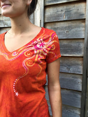 Brilliant Orange Moon Handmade Batik Vneck Tee - Batikwalla   - 4