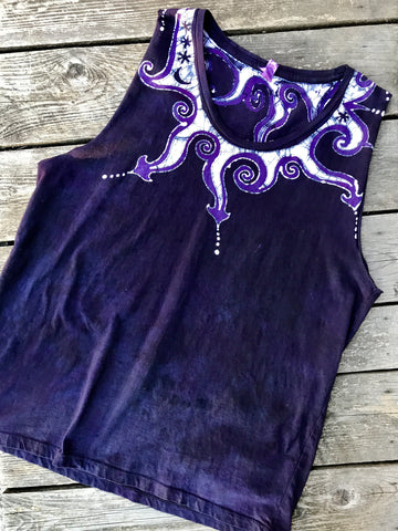 Purple and Navy Swirly Curls Handmade Batik Summer Shoulders Tank Top - Size Large