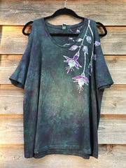 Teal and Purple Fuchsias Are Pretty Handmade Batik Summer Shoulders Tshirt - Size Large