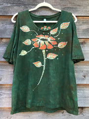 Flower Power In The Garden Handmade Batik Summer Shoulders Tshirt - Size Large