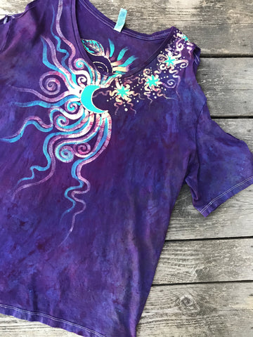 Bouquet of Magical Moonbeams Handmade Batik Summer Shoulders Tshirt - Size XL