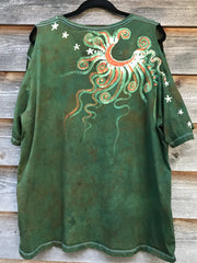 Summer Garden Surprise Handmade Batik Summer Shoulders Tshirt - Size 2X
