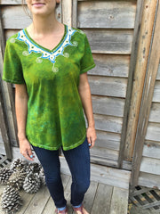 Dancing Green Meadow Batik Necklace Vneck - Size 5X - Batikwalla   - 5