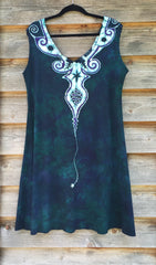 Tribal Teal Angel Organic Cotton Batik Dress - Batikwalla   - 4