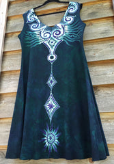 Tribal Teal Angel Organic Cotton Batik Dress - Batikwalla   - 5