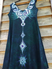 Tribal Teal Angel Organic Cotton Batik Dress - Batikwalla   - 2