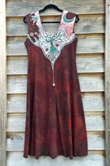 Red Earth Star Organic Cotton Batik Dress - Batikwalla   - 7