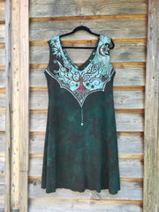 Usnea Om Tree Organic Cotton Batik Dress - Size XL - Batikwalla   - 5