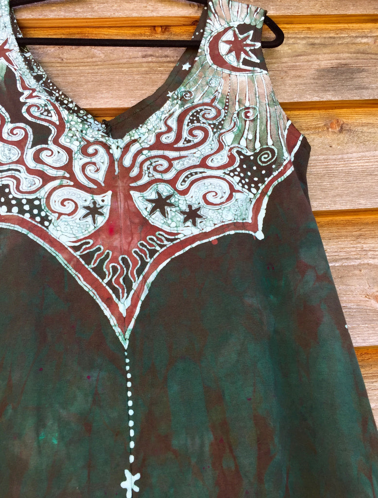 Usnea Om Tree Organic Cotton Batik Dress - Size XL - Batikwalla   - 1