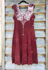 Red Om Tree Organic Cotton Batik Dress - Size Large - Batikwalla   - 11