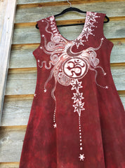 Red Om Tree Organic Cotton Batik Dress - Size Large - Batikwalla   - 10