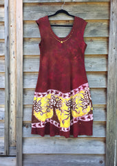 Hillsides of Madrone Organic Cotton Batik Dress - size XL - Batikwalla   - 2