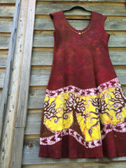 Hillsides of Madrone Organic Cotton Batik Dress - size XL - Batikwalla   - 1