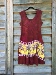 Hillsides of Madrone Organic Cotton Batik Dress - size XL - Batikwalla   - 5