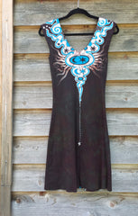 Tribal Turquoise and Earth Clay Organic Cotton Batik Dress - Size Small - Batikwalla   - 8