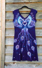 Purple Peacock Lovers Organic Cotton Batik Dress - Size M - Batikwalla   - 10