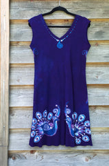 Purple Peacock Lovers Organic Cotton Batik Dress - Size M - Batikwalla   - 11