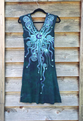 Teal and Purple Moonbeams Organic Cotton Batik Dress - Batikwalla   - 8