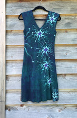 Teal and Purple Moonbeams Organic Cotton Batik Dress - Batikwalla   - 9