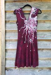 Marooned In Moonlight Red Organic Cotton Batik Dress - Size Small - Batikwalla   - 6