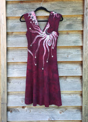Marooned In Moonlight Red Organic Cotton Batik Dress - Size Small - Batikwalla   - 7