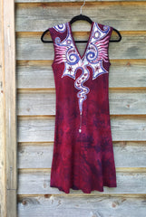 Angel Wings in Red & Purple Organic Cotton Batik Dress - Size Small - Batikwalla   - 8