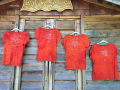 Brilliant Orange Moon Handmade Batik Vneck Tee - Batikwalla   - 6