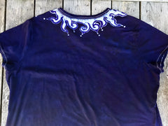 Navy Blue Necklace Vneck Tee - Plus Size 5X