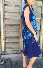 Blue Nebula Organic Cotton Batik Dress - Batikwalla   - 3