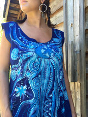 Blue Nebula Organic Cotton Batik Dress - Batikwalla   - 1