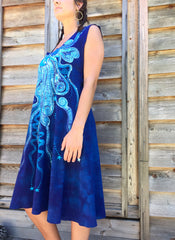 Blue Nebula Organic Cotton Batik Dress - Batikwalla   - 2