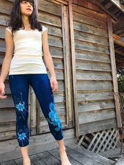 Blue on Blue Star Batik CAPRI Leggings