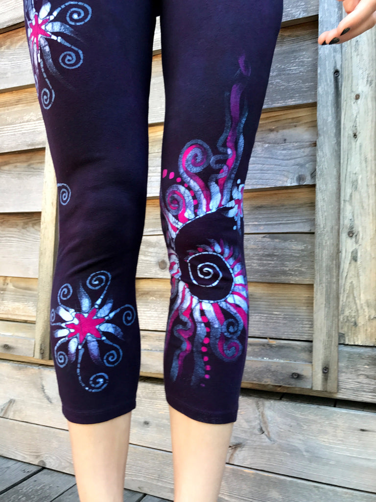 Navy Blue and Hot Pink Swirls Batikwalla Capri Leggings
