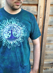 Teal and Purple Tree of Life Organic Batik Tshirt - Batikwalla   - 3