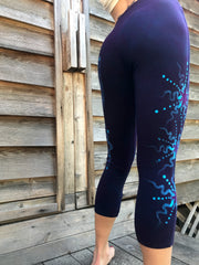 Deep Blue and Purple Moon Batik CAPRI Leggings