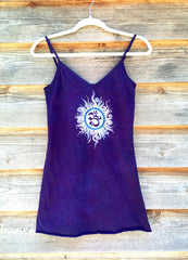 Purple and Blue Om - Batik Print Camisole - Size Small, XS - Batikwalla   - 5