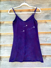 Purple and Blue Om - Batik Print Camisole - Size Small, XS - Batikwalla   - 6