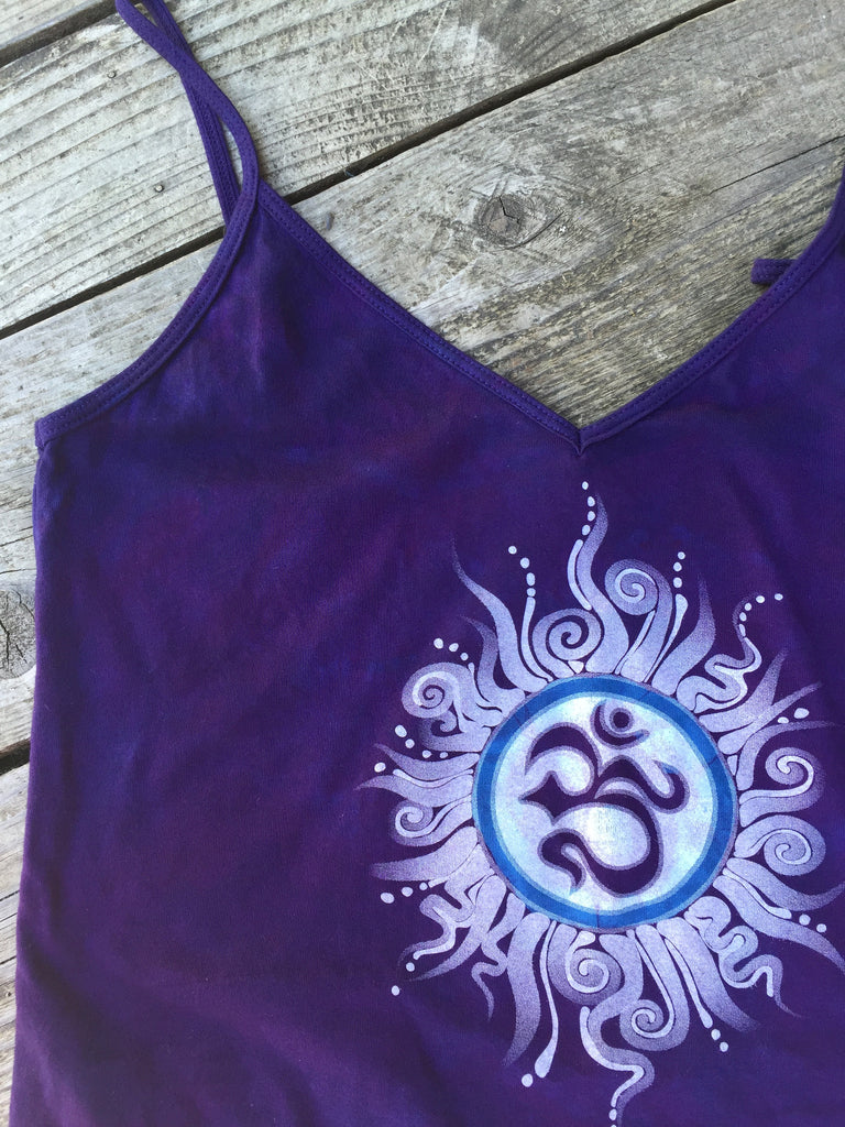 Purple and Blue Om - Batik Print Camisole - Size Small, XS - Batikwalla   - 1
