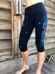 Midnight Moon Warrior Batik CAPRI Yoga Pants